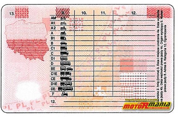 Wzor prawa jazdy 2013
