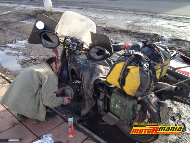 Eric changing a gasket in Ukraine close to the border with Russia