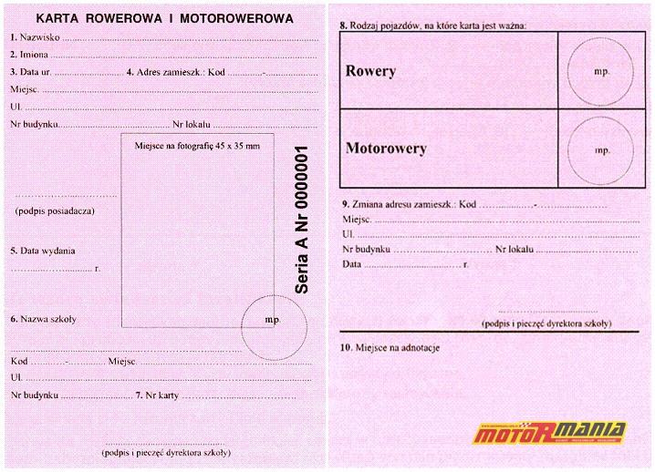 karta rowerowa i motorowerowa