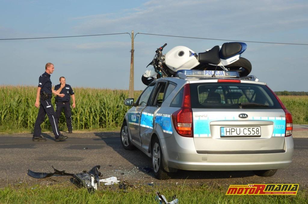 Poscig gsxr1000 witkowo policja blokada na dachu (1) - fot Kurier Witkowski