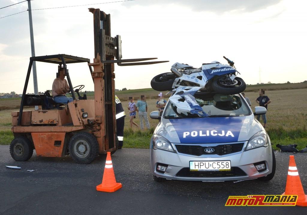 Poscig gsxr1000 witkowo policja blokada na dachu (4) - fot Kurier Witkowski