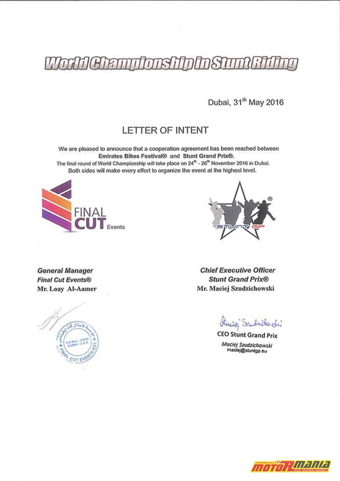 Letter of Intent Dubai