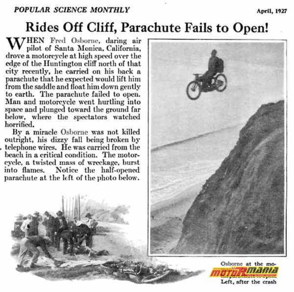 Fred Osborne skok ze spadochronem na motocyklu