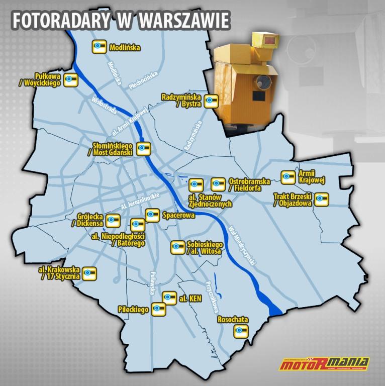 mapa fotoradarów warszawa od 14 kwietnia 2017