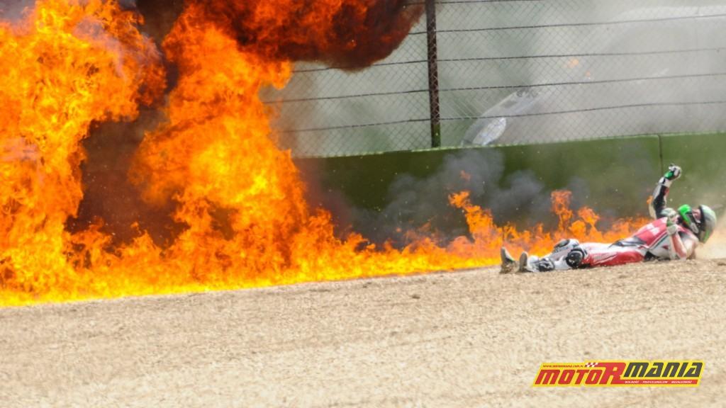 Eugene Laverty wypadek imola hamulce pożar (5)