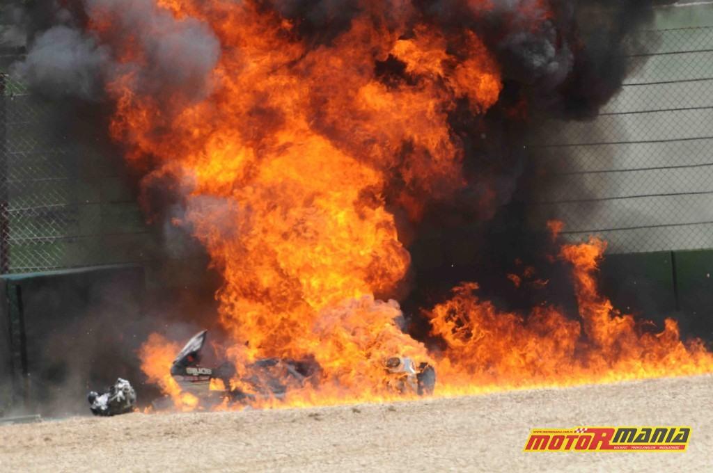 Eugene Laverty wypadek imola hamulce pożar (6)