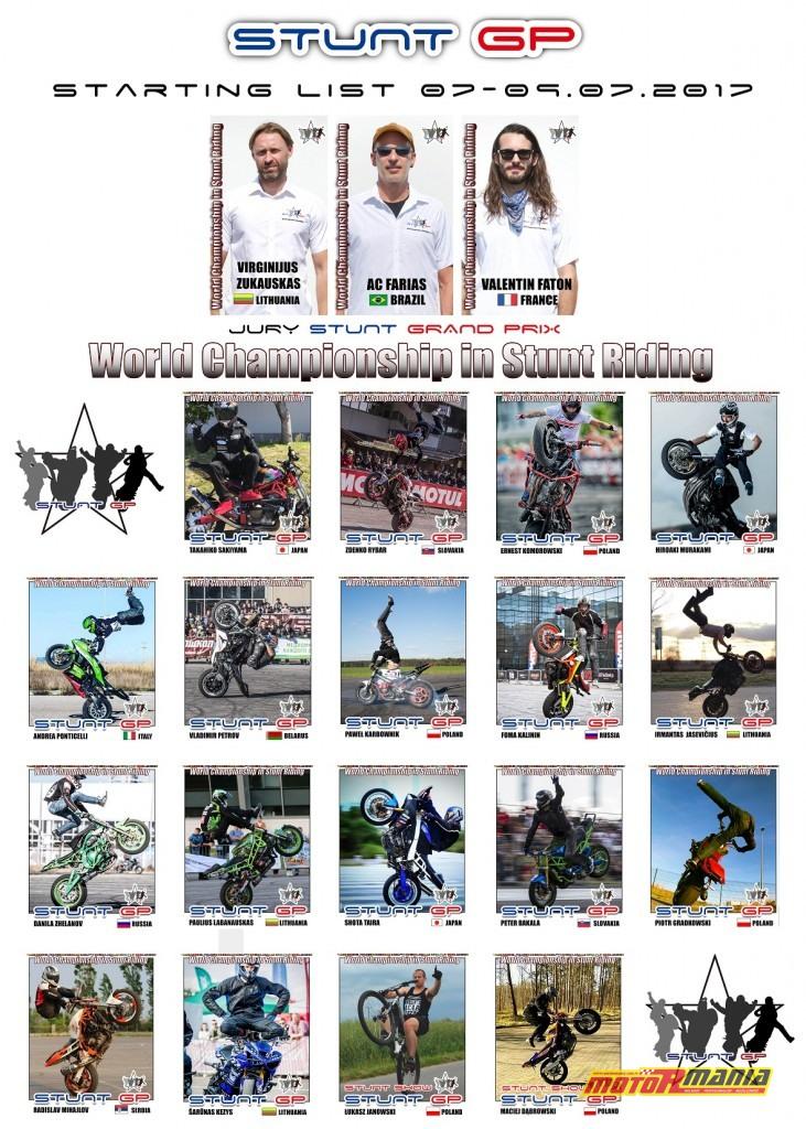 Stunt Grand Prix lista zawodników 2017 (1)
