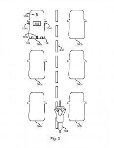 rysunek patentowy ford motocykl pomiedzy samochodami lane filtering jazda w korku