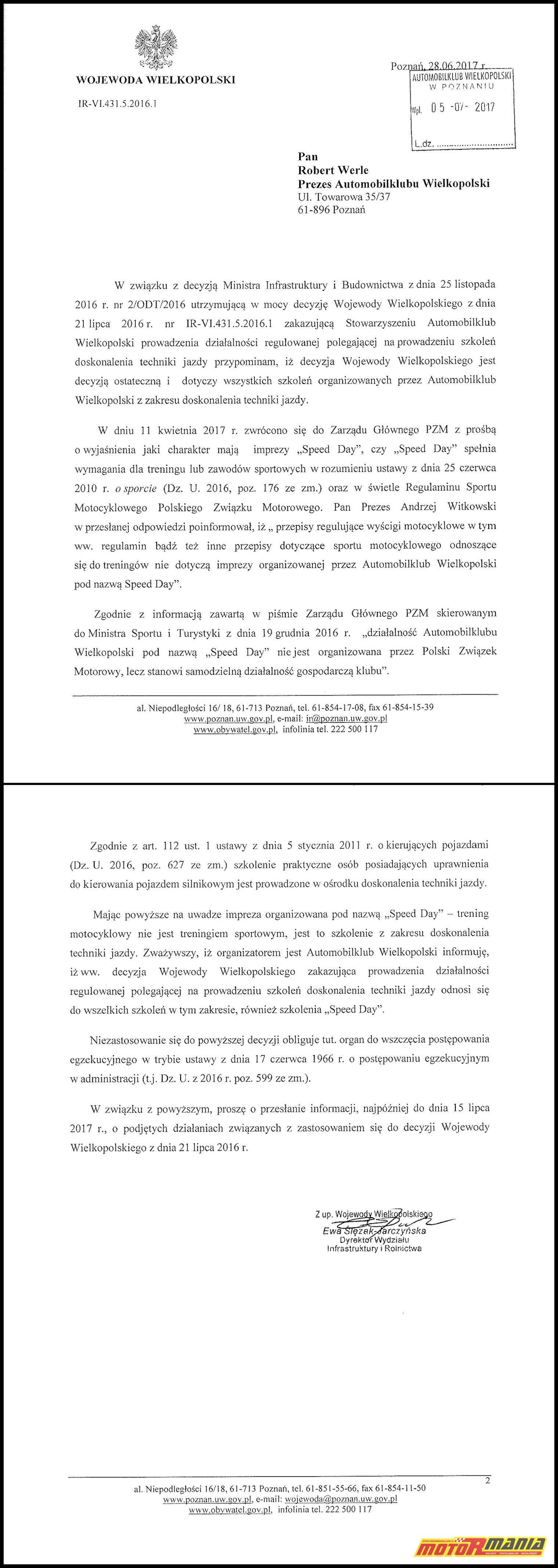 Pismo Wojewody Wielkopolskiego ws Speed Day -lowres