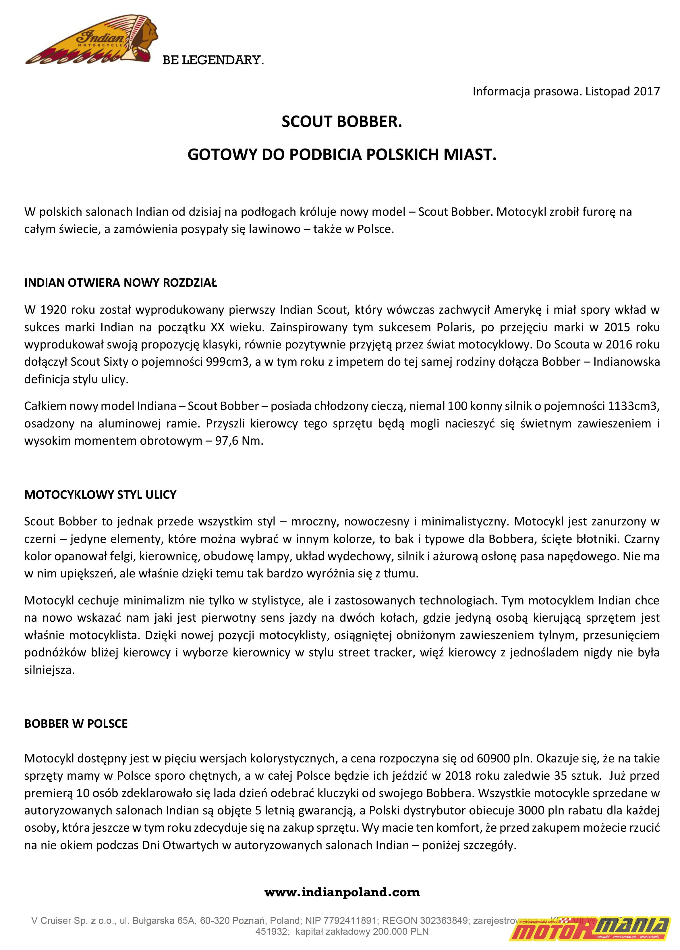 Informacja prasowa Indian Scout Bobber 2018