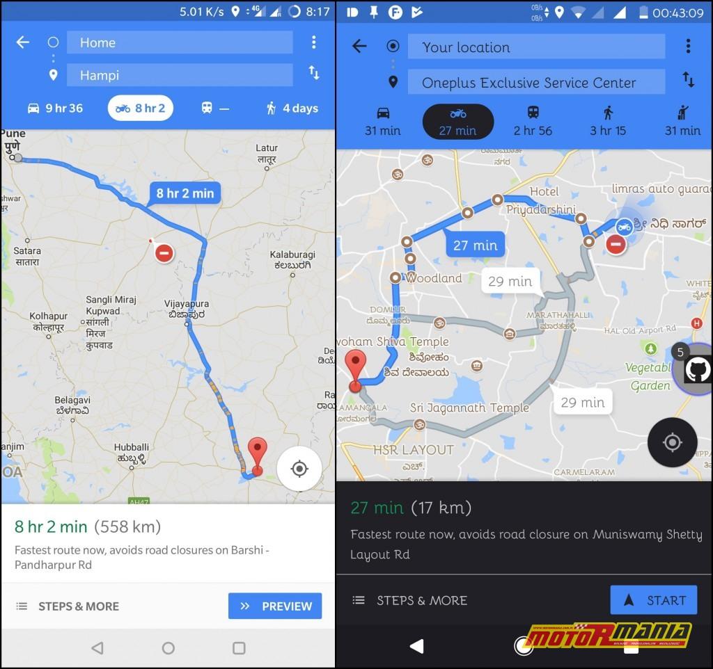 Tryb motocyklowy w Google Maps.