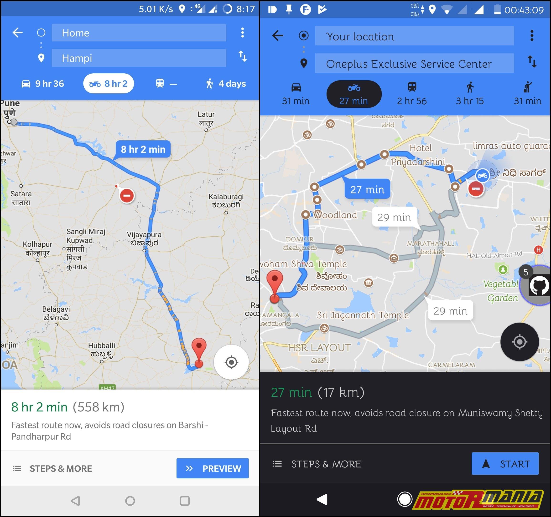 google mapy tryb motocyklowy