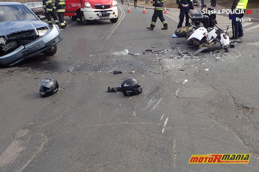 motocykl skoda wypadek rybnik