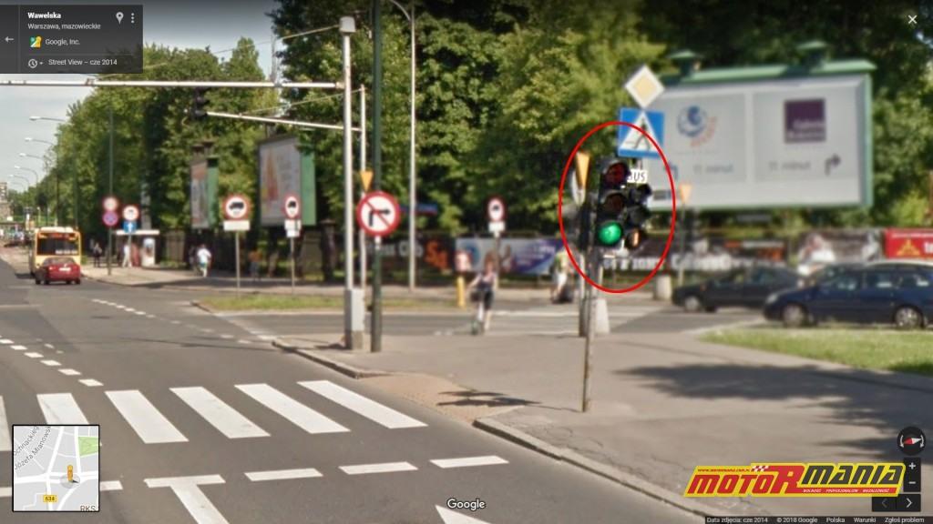 Przykładowy sygnalizator BUS na buspasie przed skrzyżowaniem ul. Wawelskiej z ul.  Żwirki i Wigury.