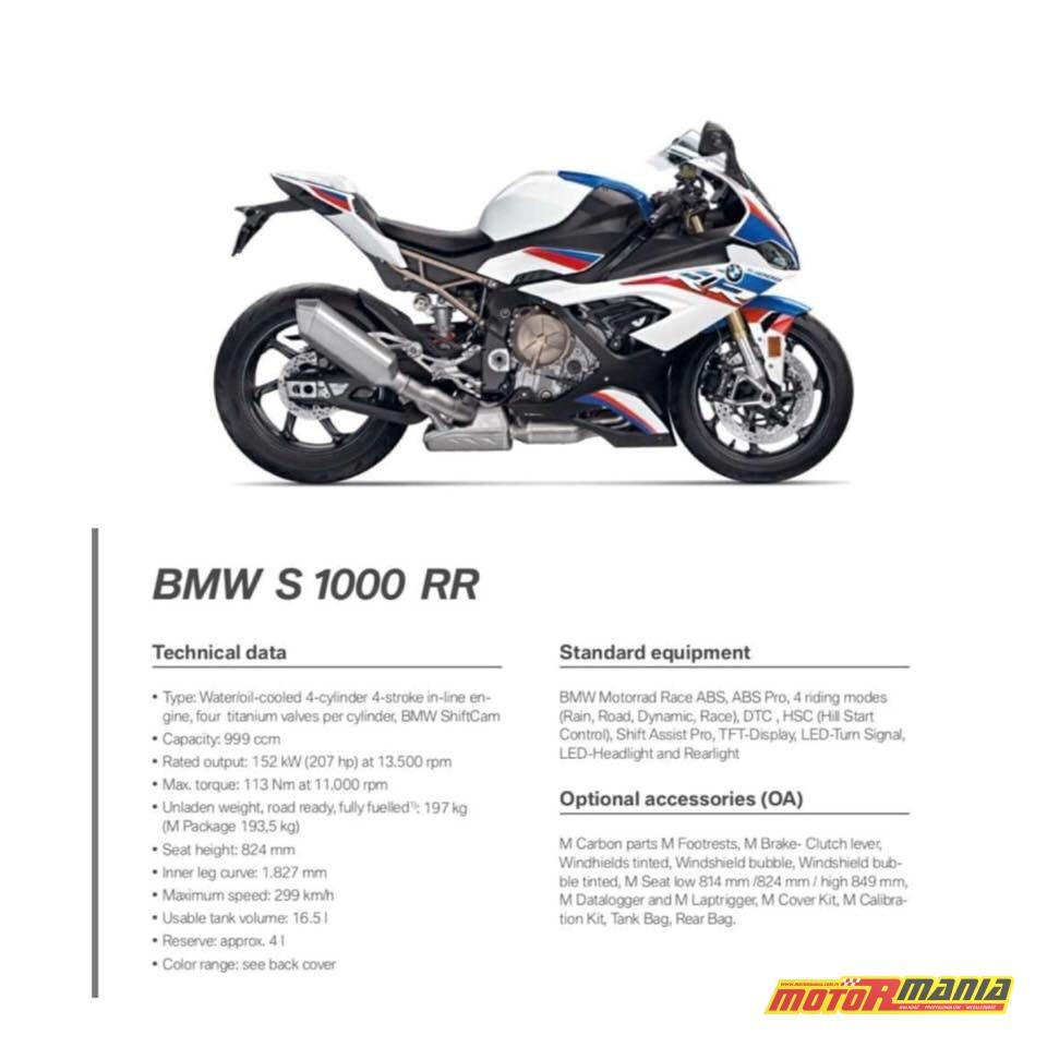 2019 S1000RR BMW pierwsze dane techniczne