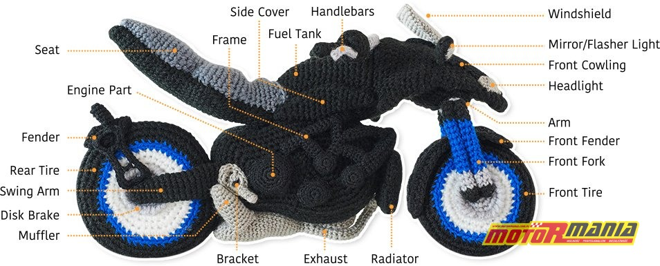 Yamaha Niken Amigurumi szydełkowanie wypchana zabawka (12)