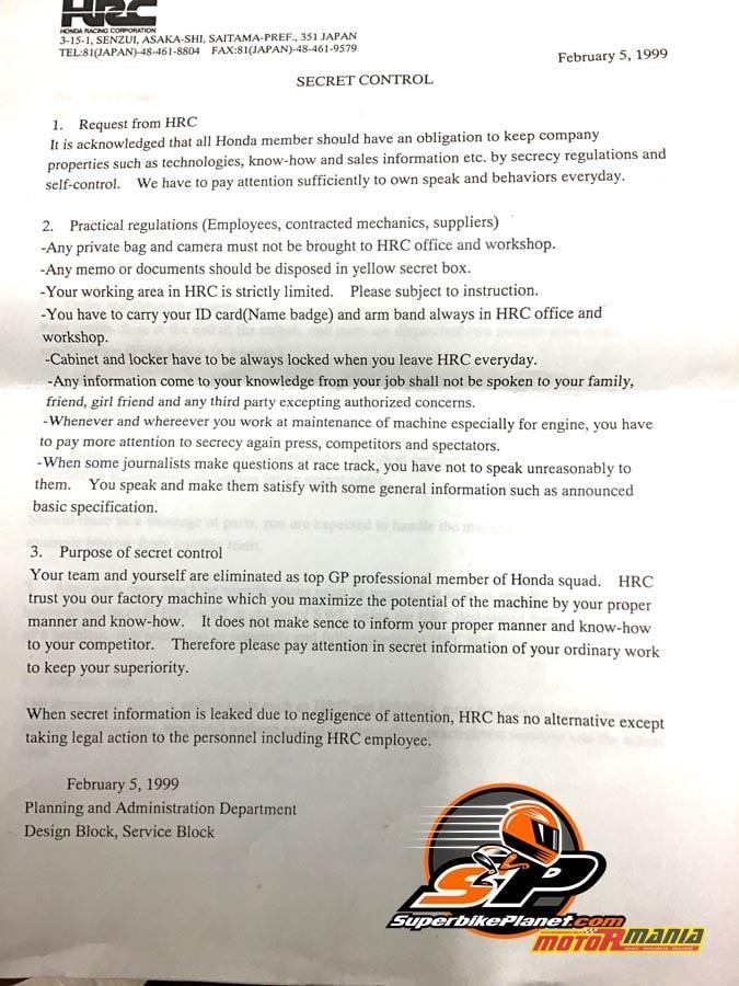 Umowa Poufności Honda HRC rok 1999