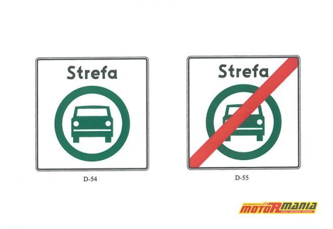 Znaki D-54 i D-55 wyznaczające strefę czystego transportu.