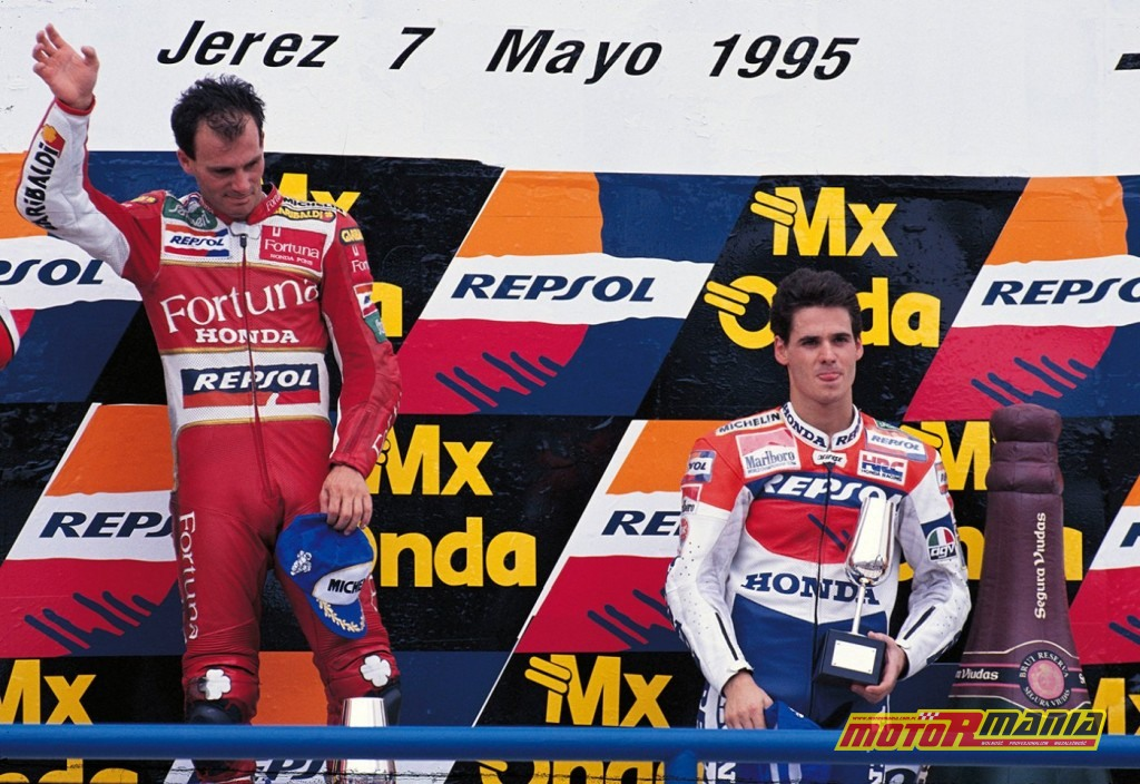 Alberto Puig oraz Alex Criville na podium w Jerez.