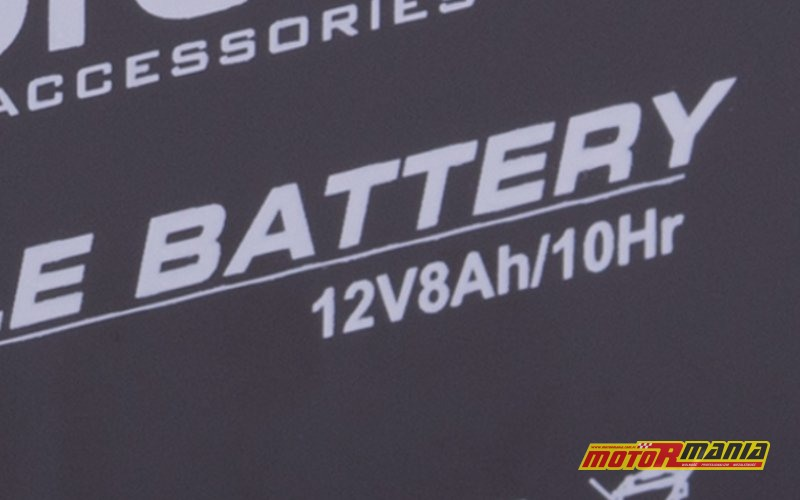 Akumulator 12-woltowy, o pojemności 12 Amperogodzin.