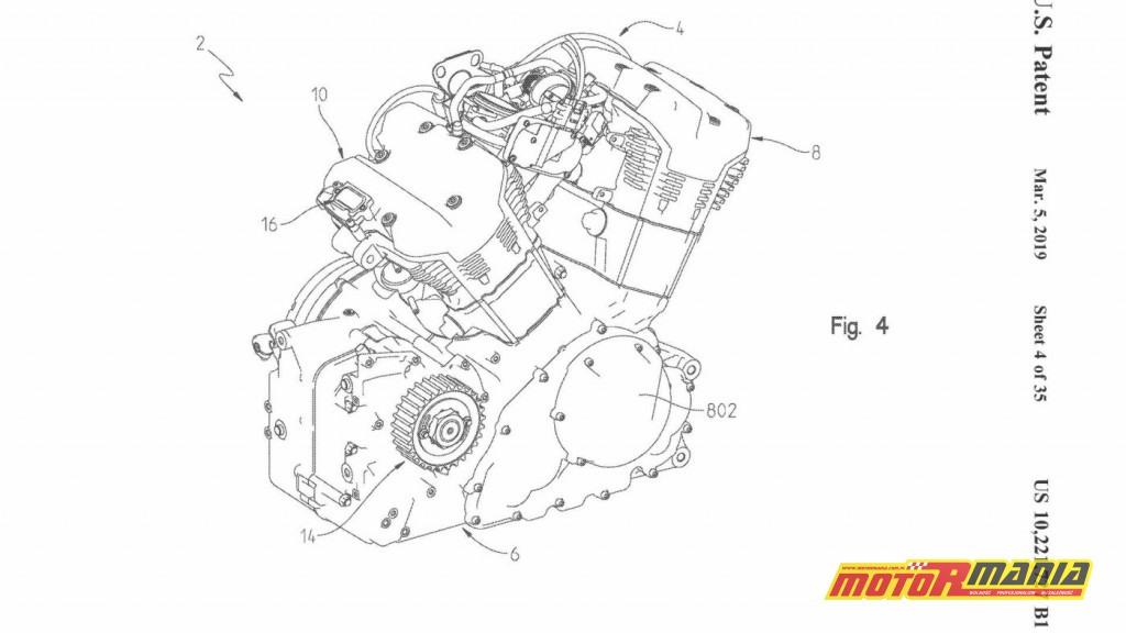Nowy silnik V-Twin (nazwa Challenger) w rysunkach patentowych.