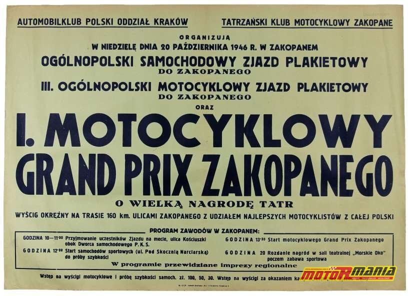 I motocyklowy grand prix zakopanego o wielką nagrodę tatr 1946