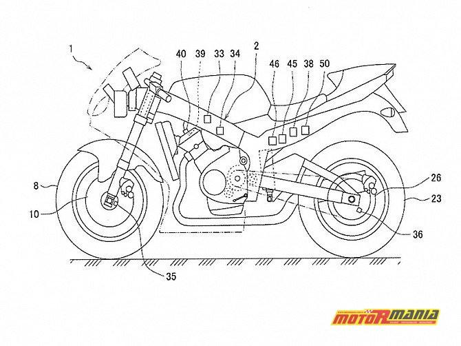 Szkic Yamahy R1 ze zgłoszenia patentowego. Zaznaczono wiele czujników, a także tylny hamulec.