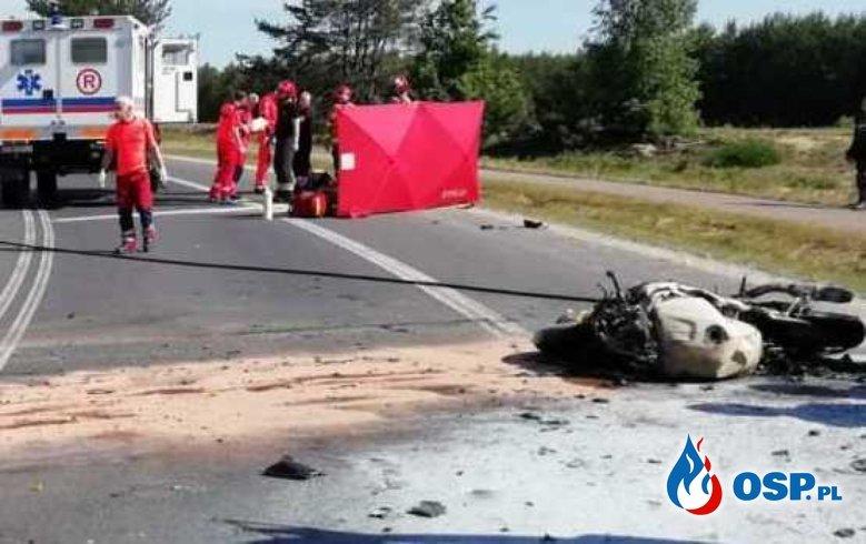 Dębina Kleszczów zderzenie czołowe 2 motocykli (3) - fot OSP_pl