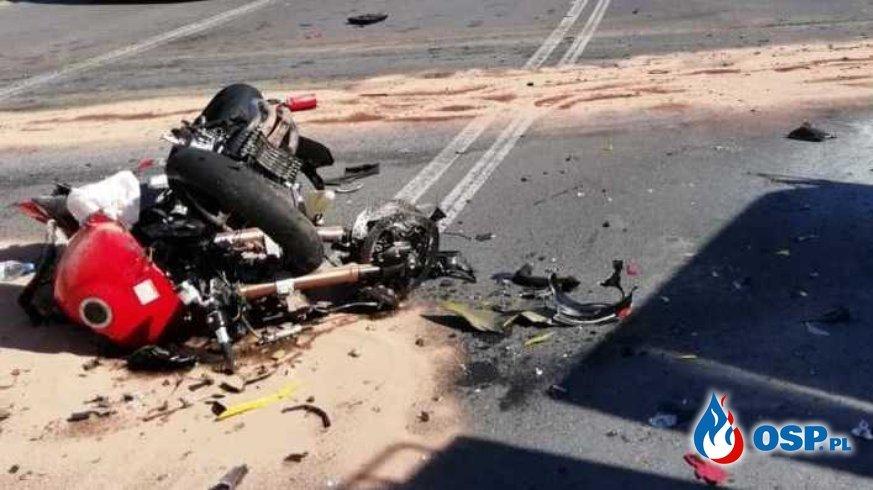 Dębina Kleszczów zderzenie czołowe 2 motocykli (4) - fot OSP_pl