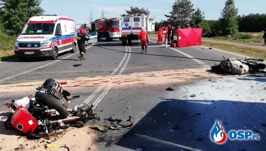 Dębina Kleszczów zderzenie czołowe 2 motocykli (5) - fot OSP_pl