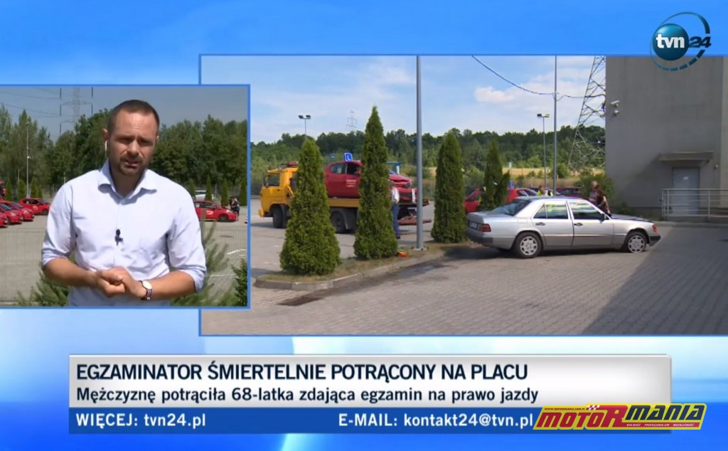 Stopklatka z raportu TVN24 - w tle miejsce zdarzenia.