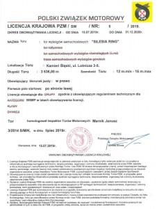 Dokument poświadczający licencję PZM.