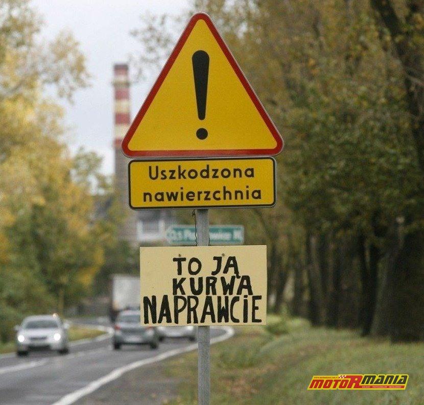 Znak, wraz z reakcją ludu, znaleziony na polskich drogach.
