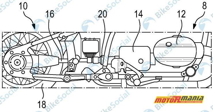 Kształt motocykla do złudzenia przypomina R18. Blokadę oznaczono numerem 20.