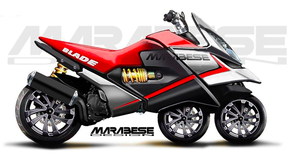 Marabese Blade Bike – przednie koła w jednej linii.